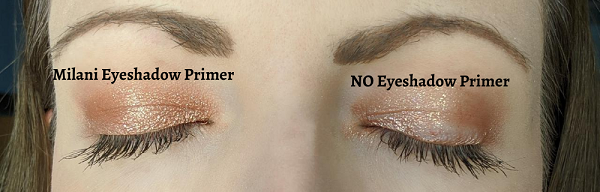 eyeshadow applied with vs. without primer