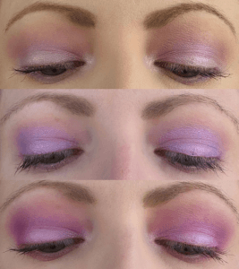 Three eye looks created with Colourpop Lilac You a Lot palette
