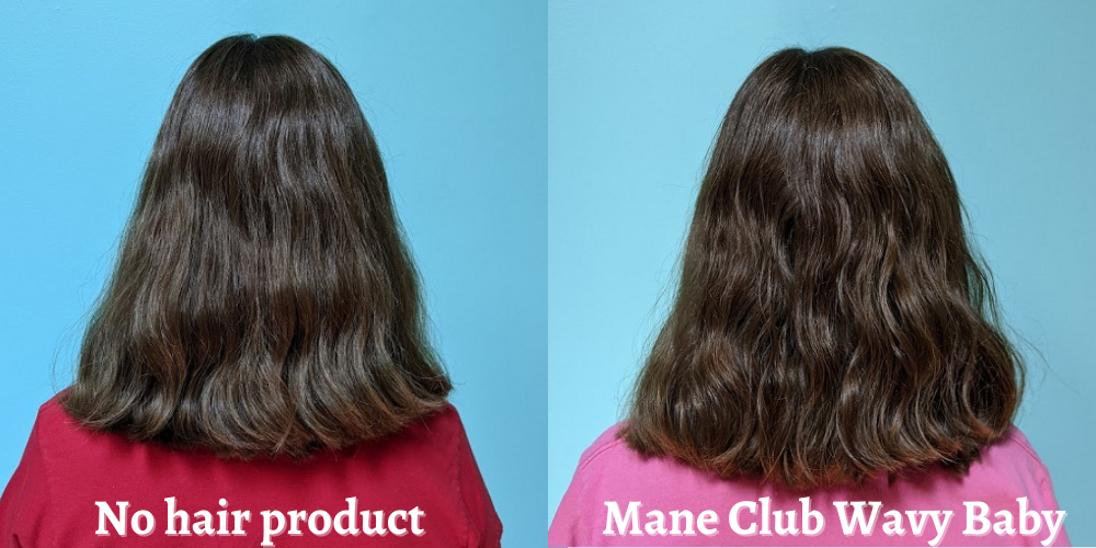 My hair with and without Mane Club Wavy Baby Wave Texture Spray